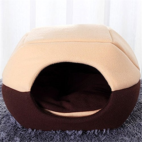 this mongolian yurt shaped nesting bed utilizes thick felt and fleece material to keep your dog relaxed for a restful nap or deep night sleep this cave bed