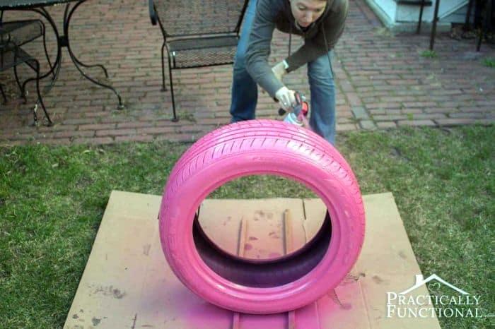 DIY Pink Tire Dog Bed