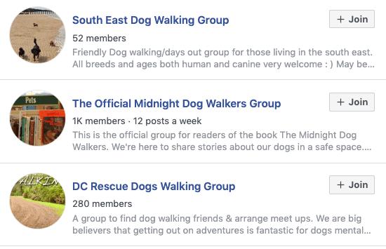 facebook dog walking groups