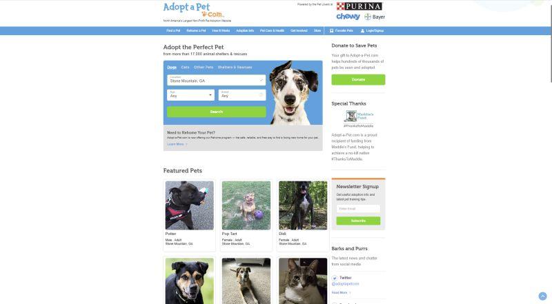 adopt-a-pet website